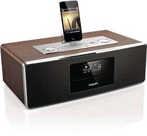 Philips Dcb852/10 Dockingstation für Apple iPod/iPhone/iPad (LCD-Display, DAB+, DigitalRadio, 30 Watt, UKW, CD-RW, Radioalarm, USB) mit Micro-Musiksystem schwarz/braun/silber