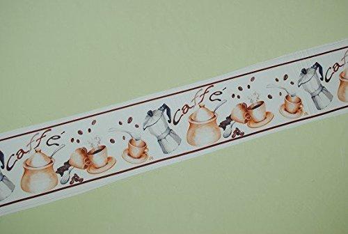 1 m Webband - mit Espresso Motiv zum Aufnähen / Bänder Bordüre - Band Italien - Kaffee - Caffee Tassen - Espresso Tassen - Frühstück (Espresso-frühstück)
