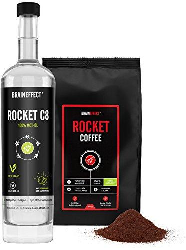 BRAINEFFECT ROCKET KIT | Bulletproof Set | 500ml C8 MCT-Öl & 460g ROCKET COFFEE | Hochwertige Caprylsäure abgestimmt mit erhöhtem Koffeingehalt | vegan