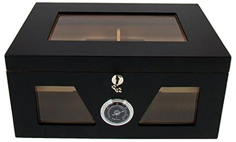 Humidificateur cigares grand verre noir 38X26,5X18 Cm.
