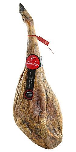 Prosciutto iberico di ghianda (pata negra). denominazione d'origine guijuelo. stagionamento piu di 36 mesi e peso da 8 a 8,5 kg.