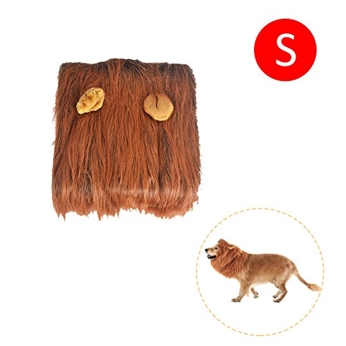 gaeruite Lion Mähne für Hund, Haustier Hund Kostüm Lion Mähne Perücke, Funny Dog Kostüm Lion Perücken Haarteil mit Schwanz, Weihnachten Halloween Kleidung Festival Fancy Dress up