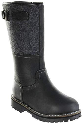 Bergheimer Trachtenschuhe Stiefel schwarz Leder Filz Herren Schuhe Tauern, Größe:43, Farbe:schwarz