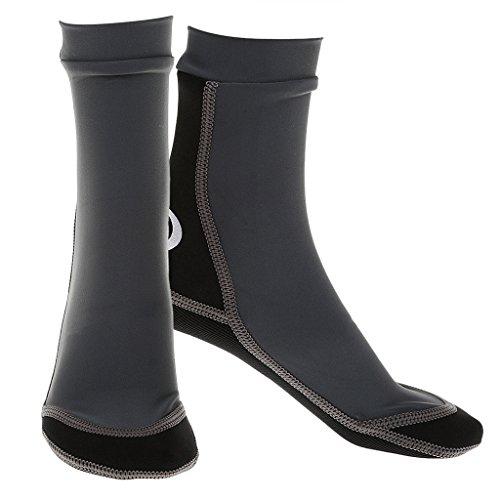 1.5mm-Dicke Neopren Wassersport Tauchen Schwimmen Socken - Grau, L