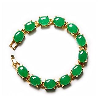 yigedan 18KGP Gold Plated Egg Shaped Green Jade Natural Stone Women Chain Bracelet