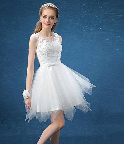 Drasawee Damen A-Linie Kleid Weiß
