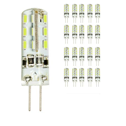 20 Pack 2 W G4 LED Lámpara, Repuesto para 15 W Halógena Lámpara, 180lm, Blanco Frío, 6000 K, MR11 LED decorativa Leuchten, bombillas led, LED Bombilla DC 12 V,