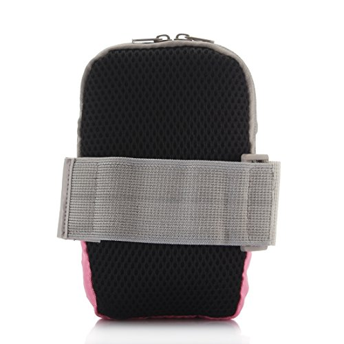 YAN Für iPhone, Samsung, HTC, Sony, Lenovo, Huawei, Xiaomi und andere Smartphones, interne Größe: 17.5x10x3cm, Universal Zipper Double Bag Multifunktions Sport Arm Case mit Kopfhörerloch ( Color : Bla Pink