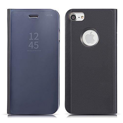 QLTYPRI iPhone 6 6S iPhone 7 iPhone 8 Hülle, Ultra Dünn Handyhülle PC Etui PU Ledertasche [Perspektive] [Spiegel] Semi Transparent Abdeckung Stoßfest Flip Schutzhülle für iPhone 6 6S 7 8 - Schwarz