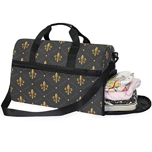 Dallonan Overnight Business Travel Tote Bag for Men Golden Fleur-De-Lis Polka Dot Duffel Bag Gym Shoe Fach Sport Tote Bag (Fleur Di Lis Gepäck)