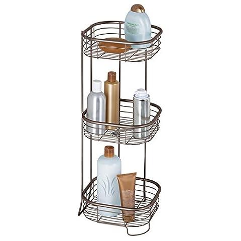 mDesign Eckregal Bad und Dusche freistehend - praktische Aufbewahrung auf drei Ebenen von Shampoo, Duschgel & Co. - rostfreies Badregal & Duschregal - Farbe: Bronze