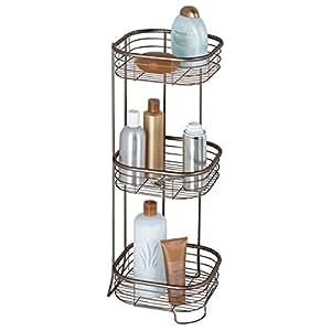 mdesign eckregal bad und dusche freistehend praktische aufbewahrung auf drei ebenen von. Black Bedroom Furniture Sets. Home Design Ideas