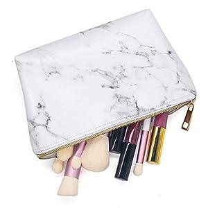 Seasaleshop Mode Marmor Pu-Leder Kosmetiktasche Aufbewahrungstasche Tragbare Damen Reise Platz Make-up Pinsel Tasche