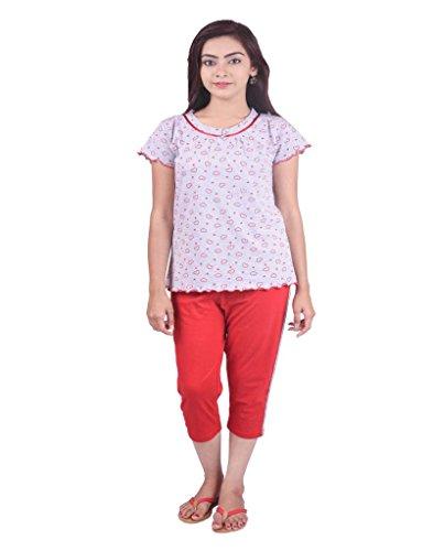 Limeberry Nightwear Set with Capri Pant & T-Shirt- Combo-12-L