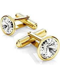Crystals & Stones Eleganti Gemelli in Argento 925placcato oro 24K, da uomo, con Swarovski Rivoli in vari colori, PIN/75