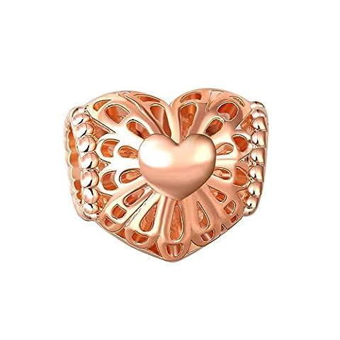 Bling Stars Rose Golden Heart Charm Filigree Flower Beads Fits Pandora Charms Bracelets