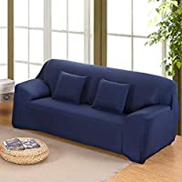 INMOZATA Sofa Covers 2 Seater 1 Piece Polyester Spandex Elastic Loveseat Sofa Slipcovers Protector, Washable (Navy Blue)