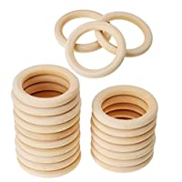 MagiDeal 20pcs Unfinished Blank Wooden Teether Rings Maple Wood Baby Teething Craft DIY Toys 45mm