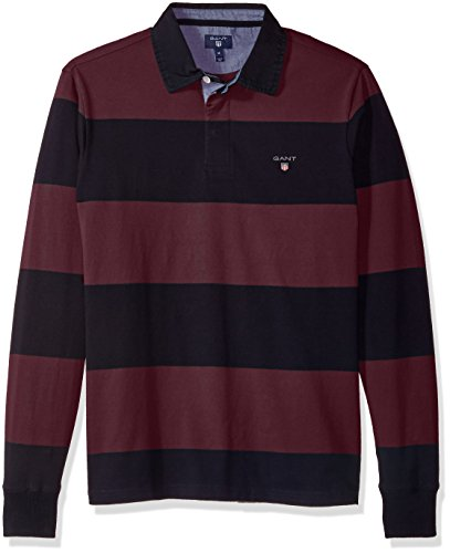 GANT Herren Mens Long-Sleeved Bar Striped Rugby Shirt Poloshirt, Purple Wine, S