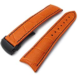 20mm CrocoGrain Orange Semi-Curved Lug Roller Deployant Watch Strap, Blue Stitching, PVD