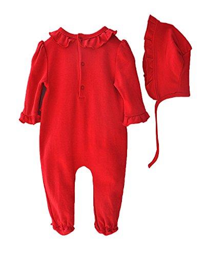 Kidsform Mädchen Strampler Langarm Outfits Bodysuit Spitzen Prinzessin Schlafanzug Rot