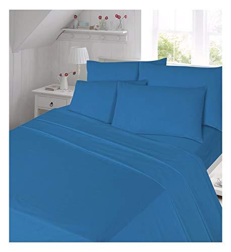Islander Fashions Luxus Thermische Flanell-Flat-Sheet Baumwolle Bettw�sche Blatt und Kissenbezug Set blau einzigen Gr��e