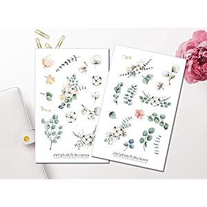 Eukalyptus und Baumwolle Sticker Set | Florale Aufkleber | Journal Sticker | Blumen Sticker | Planersticker