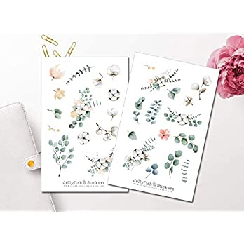 Eukalyptus und Baumwolle Sticker Set | Florale Aufkleber | Journal Sticker | Blumen Sticker | Planersticker