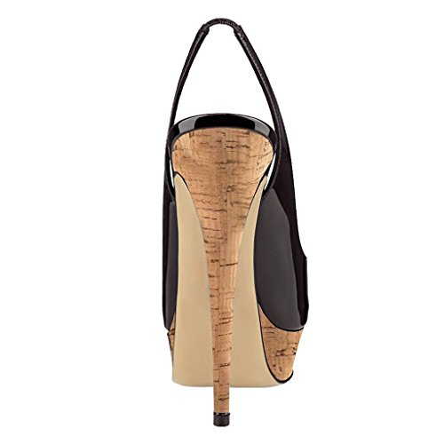 Damen High Stiletto Party Heel Sandalen Schuhe Toe Edefs Plateau Peep Slingback Holz Heels UFdxnwH
