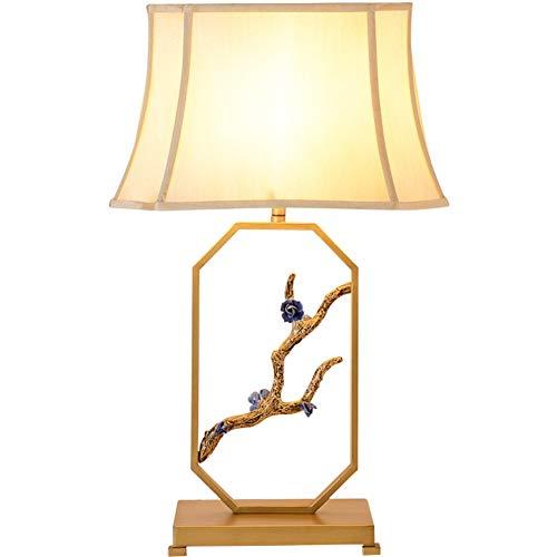 Energy Blossom (Schreibtischlampe Goldfarbe E27 Licht Studienbüro im chinesischen Stil Wohnzimmer-Dekoration Kind-Schlafzimmer-Nachtleselampe Stoffschirm Schmiedeeisen Plum Blossom Tabellen-Lampe mit Knopfschalter)