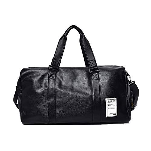 Haoda Mode Herren Ledertasche PU Leder Handtasche Waterproof Duffle Bag Business Reisetasche Groß Männer Henkeltasche Damen Travel Freizeittasche (Schwarz)