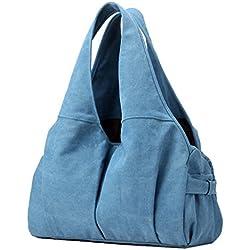Supa Moden para mujer bolsas de Lienzo bolso de hombro Hobo Tote bolso dama bolso bolsa Messenger Hobo bolsa de Satchel de Doble Uso diseño para las mujeres niñas estudiantes, mujer, azul oscuro