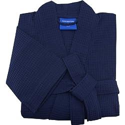 Morgenstern, Herren Waffelpique - Bademantel, Gr. XXL, blau ( dunkelblau ), 110 cm lang, 100% Baumwolle, Kimonokragen, Größen M-XXL verfügbar