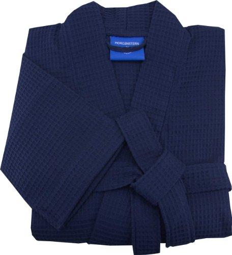 Morgenstern, Herren Waffelpique - Bademantel, Gr. XL, blau ( dunkelblau ), 110 cm lang, 100% Baumwolle, Kimonokragen, Größen M-XXL verfügbar