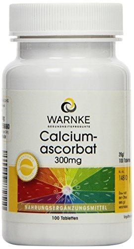 Warnke Gesundheitsprodukte Calciumascorbat 300mg, magenschonendes Vitamin C 100 Tabletten, vegi -