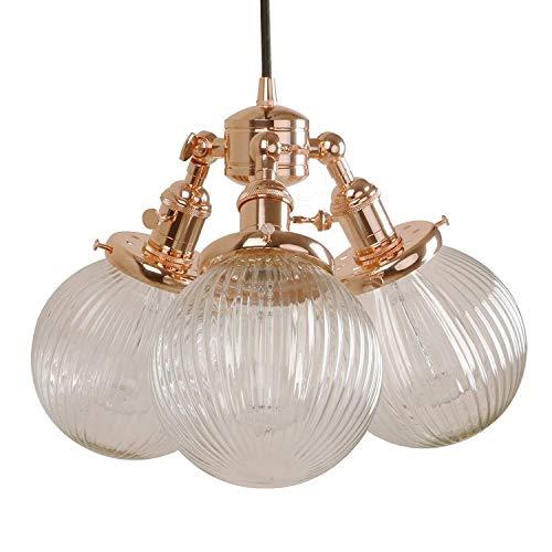 Bronze-drei Licht-insel (1949shop Industrielle Moderne Vintage Loft Bar 3 Lichter Anhänger Deckenleuchten Multi-Lichter Insel Esszimmer Schlafzimmer hängen Bronze Leuchten Kronleuchter E27 (Kupfer))