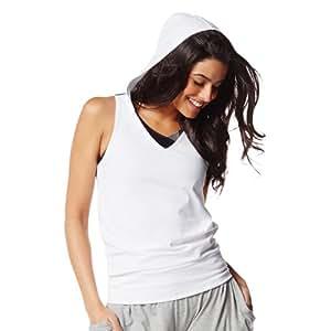 Zumba Wear Débardeur à capuche pour femme Imprimé XXL Blanc - Blanc