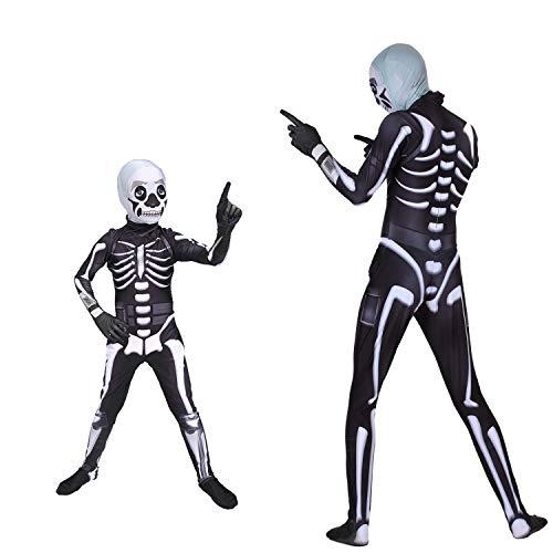 Schädel Trooper Kostüm Halloween Cosplay Kostüm Erwachsene/Kinder Body Cosplay Fortnite Gaming Skin Kostüm Kind Dress Up Geeignet Für Rollenspiel, Party, Karneval, Bingo-Spiel,Child,XS