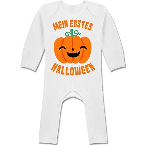 Shirtracer Anlässe Baby - Mein erstes Halloween Kürbis - 3-6 Monate - Weiß - BZ13 - Baby-Body Langarm für Jungen und Mädchen
