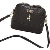 Handtasche Damen Btruely Mädchen Schulter Messenger Taschen Vintage Mini Tasche Damen Leder Umhängetasche (Schwarz)