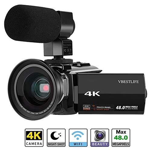 Videocámara Digital 4K 1080P Full HD DV portátil Cámara de Video Pantalla LCD táctil de 3.0'Zoom Digital de 48MP y 16X con micrófono Externo 0.39X Soporte de Lente Gran Angular WiFi/Visión noctu(UE)