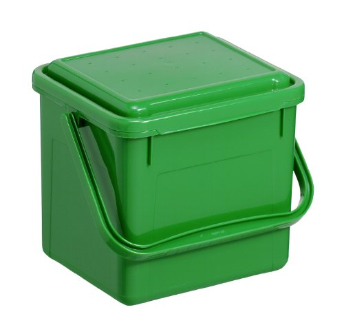 Rotho Komposteimer Bio, Abfallbehälter für die Küche aus Kunststoff mit geruchsdichtem Deckel in grün, Biomülleimer mit 4,5 Liter Inhalt, ca. 21 x 20 x 18 cm