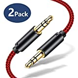 Aux Kabel, [1,2m, 2PCS] JSAUX 3,5mm Audio [Kupferhülse/Hi-Fi] Klinkenkabel - ROT