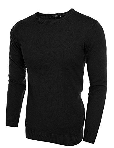 Coofandy Pullover Strickpullover Sweater Sweatshirts Langarmshirts Herren Lässige Slim Fit Rundhalsausschnitt Schwarz