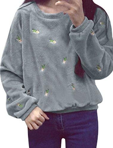 Pull Femmes Cactus Broderie Loisir Plush Sweatshirt Gris