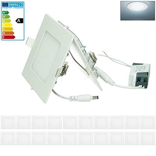 ECD Germany 20-er Pack LED Einbaustrahler 6W - Panel Deckenstrahler ultraslim - 220-240V - SMD 2835-12 x 12 cm - kaltweiß 6500K - eckiger Einbauleuchten Spot für Flur, Bad oder Küche