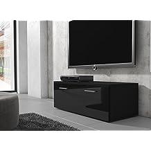 Mueble TV Soporte Boston cuerpo negro/frontal negro, brillante, 100cm
