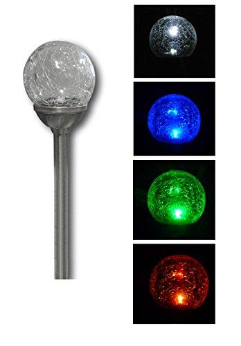 XL LED Solar Lichtkugel Solarlampe Solarleuchte Leuchte Leuchtkugel mit Bruchglas-Mosaik Weiss oder Farbwechsel einstellbar