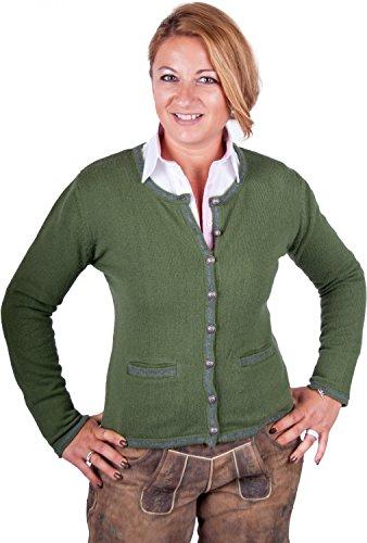 Almwerk Damen Trachten Strick Jacke Diana in grün, blau, grau schwarz und fuchsia, Größe Damen:XXL - Größe 44;Farbe:Grün/Stein