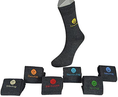 NOVA 7 Paar Herren Sieben Tage Socken, in Schwarz oder Anthrazit, In Deutsch, English oder France, Gr. 39-42, 43-46, Anthrazit-03, 39/42 Nova Hängen